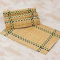 Palm leaf placemats, 'Breakfast Celebration' (set of 4) - Handcrafted Guatemalan Palm Leaf Placemats (Set of 4)
