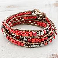 Glass beaded wrap bracelet, 'Wrapped in Love' - Handmade Red Glass Beaded Wrap Bracelet from Guatemala