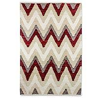Wool area rug, 'Brick Pathways' (4x6) - Wool Area Rug with Zig Zag Pattern from Guatemala (4x6)