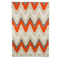 Wool area rug, 'Tangerine Pathways' (4x6) - Wool Area Rug with Zig Zag Pattern from Guatemala (4x6)