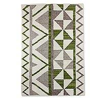 Wool area rug, 'Triangular in Green and Grey' (4x6) - Wool Area Rug with Geometric Pattern from Guatemala (4x6)