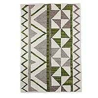 Wool area rug Triangular in Green and Grey 4x6 Guatemala