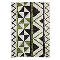 Wool area rug, 'Triangular in Green and Brown' (4x6) - Wool Area Rug with Geometric Pattern from Guatemala (4x6)