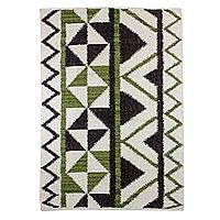 Wool area rug Triangular in Green and Brown 4x6 Guatemala