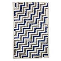 Wool area rug, 'Blue Zig Zag' (4x6) - Wool Area Rug with Zig Zag Pattern from Guatemala (4x6)