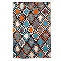 Wool area rug, 'Aqua Diamonds' (4x6) - Wool Area Rug with Geometric Pattern from Guatemala (4x6)