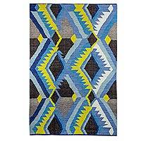 Wool area rug, 'Geometric Sky' (4x6) - Geometric Patterned Wool Area Rug from Guatemala (4x6)