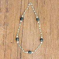 Jade link necklace, 'Spiraling Green' - Jade and Sterling Silver Link Necklace from Guatemala