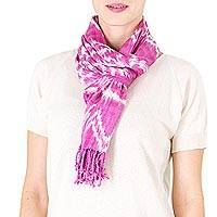 Cotton scarf, 'Mayan Mulberry' - Tie-Dyed 100% Cotton Scarf in Mulberry from Guatemala