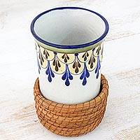 Ceramic and pine needle cup with cup holder, 'Country Flowers' - Ceramic Bathroom Cup with Cup Holder from Guatemala