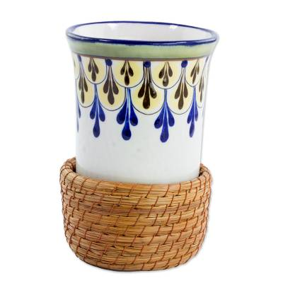 Ceramic Bathroom Cup with Cup Holder from Guatemala