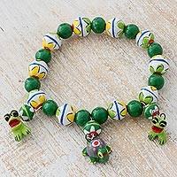 Ceramic beaded stretch bracelet, 'Pond Friends' - Ceramic Bracelet with Frogs and Turtle from Guatemala