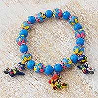 Ceramic beaded stretch bracelet, 'Liberty in Paradise' - Ceramic Beaded Bracelet with Paradise Birds from Guatemala