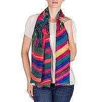 Chiffon scarf, 'Kaleidoscopic Life' - Multicolored Printed Wrap Scarf from Guatemala