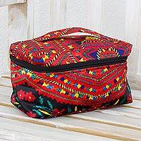 Fabric toiletry case, 'Country Paths' - Printed Toiletry Case with Handle from Guatemala