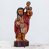 Wood sculpture, 'Saint Christopher' - Hand Carved Sculpture of Saint Christopher from Guatemala