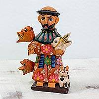 Wood statuette, 'Saint Francis' - Wood Statuette of St Francis of Assisi with Animals