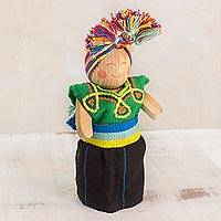 Wood decorative doll, 'Acceptance' - Handcrafted Decorative Pinewood Doll from Guatemala