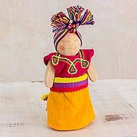 Wood decorative doll, 'Sweet Dreams' - Decorative Wood Worry Doll from Guatemala
