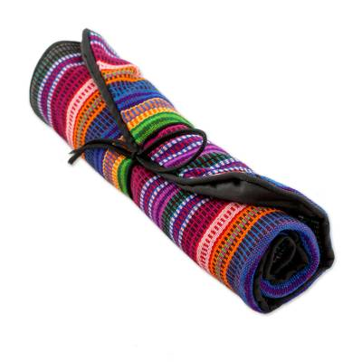 Cotton jewelry roll, 'Rainbow Party' - Handwoven Striped 100% Cotton Jewelry Roll from Guatemala