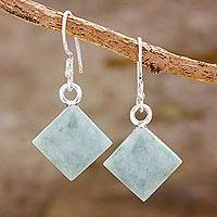 Jade dangle earrings, 'Verde Squares' - Green Square Jade Dangle Earrings from Guatemala