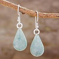 Jade dangle earrings, 'Verde Tears' - Drop-Shaped Green Jade Dangle Earrings from Guatemala