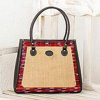 Cotton accent leather and jute shoulder bag,