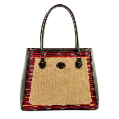 Cotton and Leather Accent Jute Shoulder Bag from Guatemala
