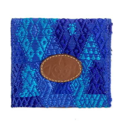 Blue 100% Cotton and Leather Card Holder from Guatemala