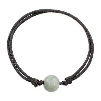 Handcrafted Apple Green Jade Sliding Knot Cotton Cord Pendant Bracelet