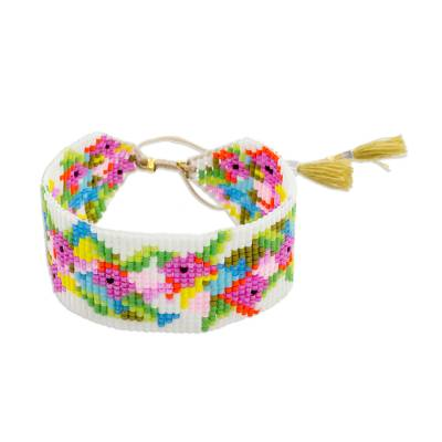 Colorful Glass Beaded Wristband Bracelet from Guatemala