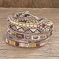 Glass beaded wrap bracelet, 'Country Mountains' - Colorful Glass Beaded Wrap Bracelet from Guatemala