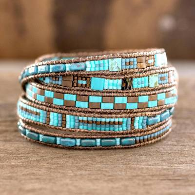Glass beaded wrap bracelet, Traditional Style
