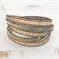 Featured review for Glass beaded wrap bracelet, Cerro de la Cruz in Grey