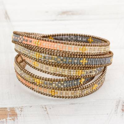 Glass beaded wrap bracelet, 'Cerro de la Cruz in Grey' - Colorful Glass Beaded Wrap Bracelet from Guatemala