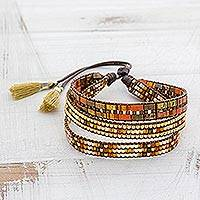 Featured review for Glass beaded wristband bracelet, San Pedro Sunset
