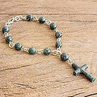 Jade link bracelet, 'Faithful Denario' - Cross Charm Dark Green Jade Link Bracelet from Guatemala