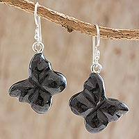 Jade dangle earrings, 'Freedom Flight' - Black Jade Butterfly Dangle Earrings from Guatemala