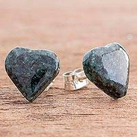 Jade button earrings, 'Dark Green Love' - Heart-Shaped Jade Button Earrings from Guatemala