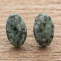 Jade button earrings, 'Oval Simplicity in Green' - Green Jade Oval Button Earrings from Guatemala
