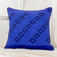 Cotton cushion cover, 'Mayan Blue' - Cotton Cushion Cover in Lapis and Cerulean from Guatemala