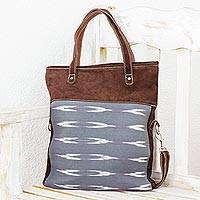 Leather and cotton shoulder bag, 'Cool Elegance' - Handmade Leather and Cotton Handbag from Guatemala