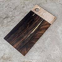 Wood and alabaster cutting board, 'Natural Marvels' - Jobillo Wood and Alabaster Cutting Board from Guatemala