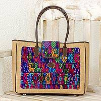 Leather and cotton accent jute shoulder bag, 'Country Geometry' - Geometric Jute and Leather Accent Shoulder Bag