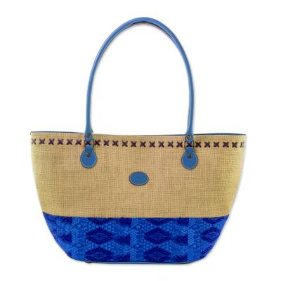 Cotton and Leather Accent Jute Shoulder Bag in Blue