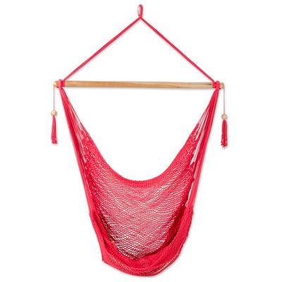 Hand Woven Red Cotton Hammock Swing