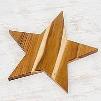 Teakwood cutting board, 'Natural Star' - Handmade Teakwood Star-Shaped Cutting Board from Guatemala