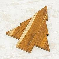 Teakwood cutting board, 'Pine Tree' - Teakwood Tree-Shaped Cutting Board from Guatemala