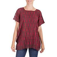 100% cotton blouse, 'Rose Garden Gate' - Deep Reddish Brown Handwoven Blouse from Guatemala