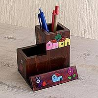 Wood desk organizer, 'Flora and Fauna' - Wood Desk Organizer Pine Hand Painted El Salvador